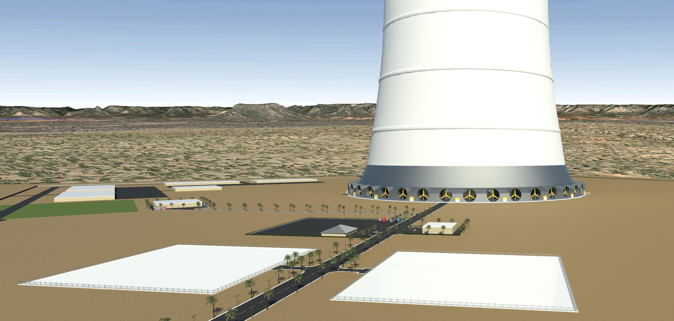 2250 ft tall hybrid solar-wind energy tower is slated for development on a site in San Luis, Arizona.